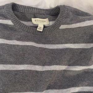 Men's Gray/White striped sweater
